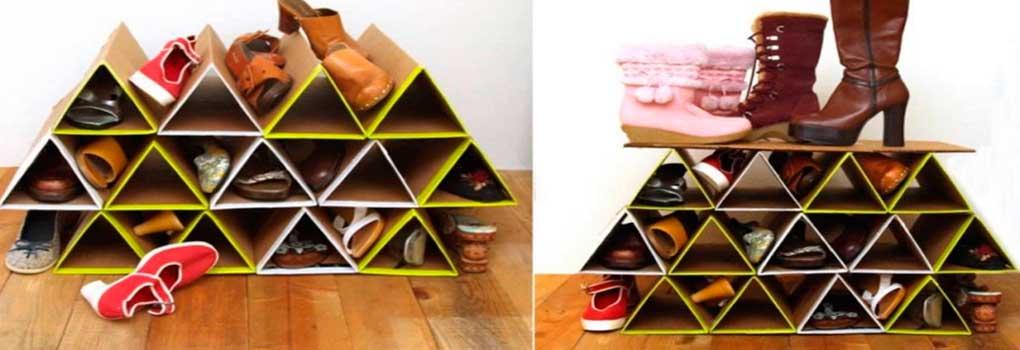 estante de carton para zapatos
